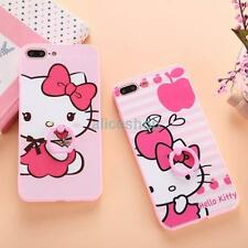 Cute Pink Hello Kitty Finger Rings Anti-Drop Case Cover for iPhone 7 7 Plus 6 6S