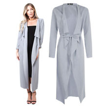 Light Grey Womens Maxi Midi Long Sleeved Belted Waterfall Duster Jacket Coat