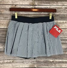 NEW Fila Tennis Skirt Skort Blue White Striped Womens Pleated Athletic S M L
