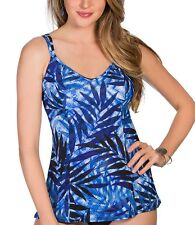 NEW Miraclesuit Size 14 or 16 Malibu Denim-ite Blue Tankini Top Swimsuit $108