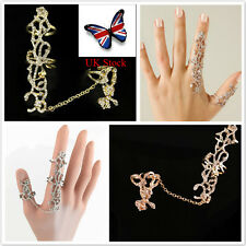 UK Women Two Finger Rings Ladies Stack Knuckle Band Rose Crystal  Jewelry