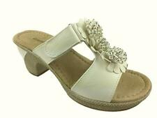 LADIES FAUX LEATHER SOFT COMFORT INSOLE STRAPPY SUMMER SANDALS WHITE SIZE 3-9