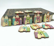 Wooden Castle buttons Fit Sewing Crafts Scrapbooking Mixed color 30mm