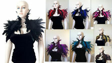 Black Red Steampunk evening Feather Shrug Shoulder Wrap cape Collar goth