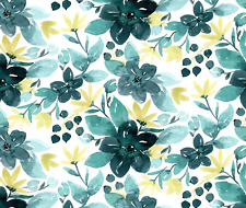 Blue and Yellow Watercolor Blossom Fabric Printed by Spoonflower BTY