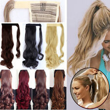 "17""-26"" Layered Clip In Wrap Around Hair Extension Pony Tail Ponytail Curly T321"