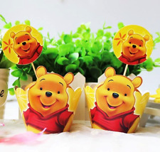 NEW Pack of 12 Winnie the Pooh Themed Party Cupcake Wrappers & Toppers