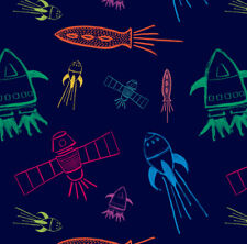 Navy Blue Shuttles Fabric Printed by Spoonflower BTY