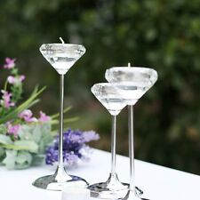 Candle Holders Metal Tall Flower Goblet Crystal Candle Stand Candlestick EW