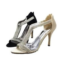 Ladies satin diamante T-bar peep toe high heel party shoes