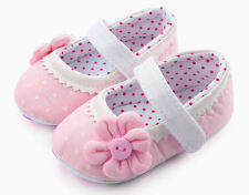 NEW Baby Girl Pink Polka Dot Mary Jane Flower Crib Shoes 0-6 6-12 12-18 M