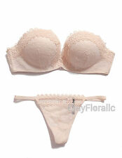 2 pcs Victoria's Secret Bombshell strapless add 2 cups lace Push Up Bra Set nude