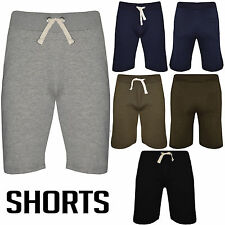 MENS PLAIN GYM FLEECE JOGGER SHORTS ELASTICATED WAIST RUNNING JOGGING SPORTS JOG