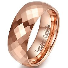 8mm Multi Faceted Tungsten Carbide Engagement Wedding Band Rose Gold Ring for Me