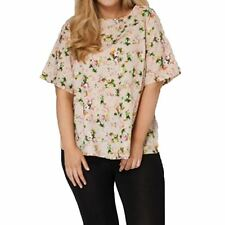 Beige floral fluted sleeve loose fitting plus size blouse