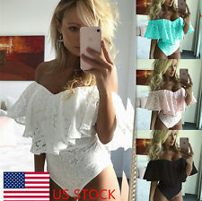 Women Girl Off-shoulder Strapless Lace Hollow Out Top Rompers Jumpsuits Bodysuit