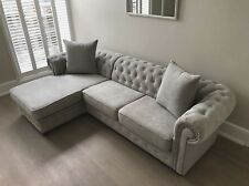 Chesterfield Corner Sofa Fabric, 3+2 Seater, Armchair- Light Grey Fast Delivery