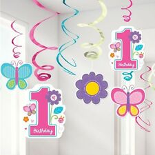 1st First Birthday Sweet Girl Hanging Foil Swirl Decorations Flowers Butterflies