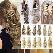 Thick Natural Ponytail Clip in Hair Extension Claw On Extensions Curly Wavy T43