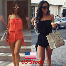 Summer Women Girl Lace Up Off Shoulder Mini Playsuit Sexy Dress Jumpsuit Romper