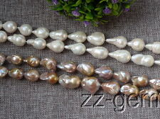 SP0372a   14x22MM  white/purple Nucleated Flameball Baroque  Freshwater pearls