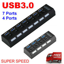 AU 4/7Ports USB 3.0 Hub with On/Off Switch+EU AC Power Adapter for PC Laptop Lot
