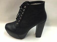 New Boxed Ladies Black Lace up Platform Ankle Boots Goth/Punk Look Pick Size