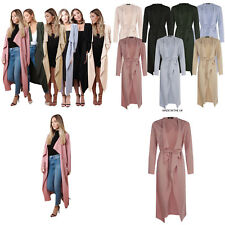 Womens Ladies Belted Long Sleeved Maxi Midi Duster Jacket Coat Cape