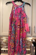 NWT ~ GORGEOUS BETSEY JOHNSON PINK FLORAL RACER BACK DRESS ~   SIZE  4 6 10 12