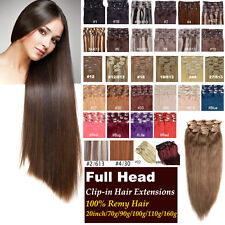 20inch 100% Clip In Remy  Human Hair Extensions 70g/90g/100g/110g/160g Hair Set
