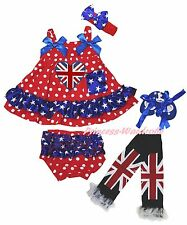 UK Heart Queen Day Star Red Dot Baby Swing Top Bloomer Leg Warmer Shoes Set 0-2Y