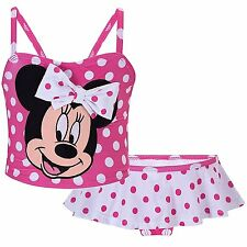 Disney Store Minnie Mouse Pink Polka Dot 2pc swimsuit bathing suit Toddler Swim