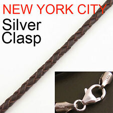 """3mm Brown Briaded Bolo Leather Cord Necklace 925 sterling Silver Clasp 34"""" NYC"""