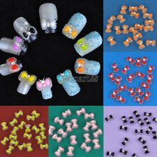 New 20pcs Acrylic Cute Bowknot Bow Tie Glitter Gel UV 3D Nail Art DIY OK03