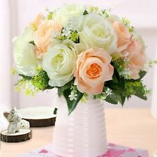 Vintage Artificial Rose Silk Flowers Bouquet for Wedding Party Home Decoration