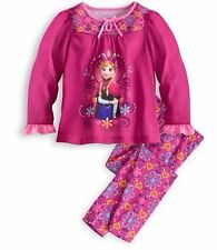 NWT Disney Store Girls Frozen Anna Pajamas 3 6 7 8 10 2pc Set Long Sleeve