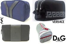 VERSACE. YSL. D&G. MENS TOILETRY WASH BAGS TRAVEL CASES, BLACK BLUE GREY RED