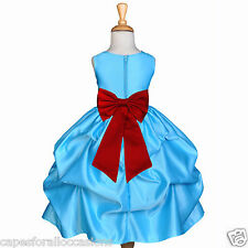 TURQUOISE BL WEDDING BRIDESMAID TODDLER PAGEANT FLOWER GIRL DRESS S L 2 4 6 8 10