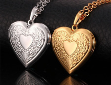 Engraved Heart Flower Locket Photo Frame Memory Silver / Gold woman Pendants