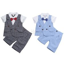 2pcs Newborn Toddler Infant Baby Boy Plaid Clothes T-shirt Tops+Pants Outfit Set