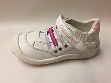 New Boxed Girls Chatterbox White & Pink Velcro Trainers Infant 6's - 10's