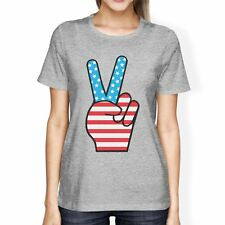 Peace Sign American Flag Womens Grey Round Neck Tee For 4th Of July