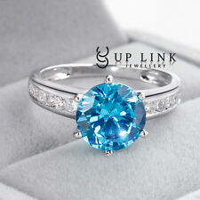 9MM Round Cut Blue Cubic Zirconia White Gold Plated CZ Fashion Cocktail Ring