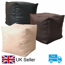 Faux Leather Bean Bag Cube Pouffe Beanbag Foot Stool in Black, Brown or Cream