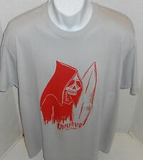 QUIKSILVER Men's Gray Still Rippin Skeleton Graphic Logo Tee Shirt Size S