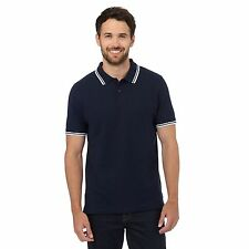 Maine New England Mens Big And Tall Navy Tipped Collar Pique Polo Shirt