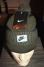 NIKE UNISEX WINTER POM POM KNIT CAP COLORS GREEN OR BLUE CAMO ONE SIZE FIT NWT