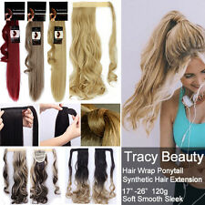 Long Ponytail Clip In Hair Wrap Pony Tail Hair Extension Blonde Straight Curly H