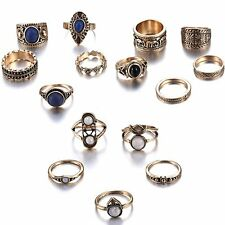 5Pcs/Set Vintage Fashion Women Rings Jewelry Gifts Gold Plated Black Stone Party