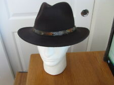 NWT DORFMAN PACIFIC CHOC. BROWN FEDORA 100% WOOL WATERPROOF/CRUSHABLE HAT